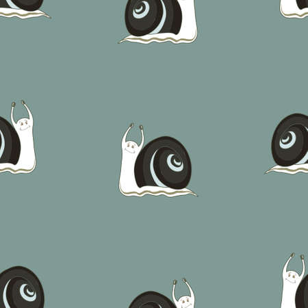 cochlea: Seamless background with cochlies. Vector background. Animal seamless pattern