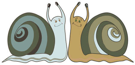 cochlea: Two funny cochleas. Vector-art illustration on a white background Illustration
