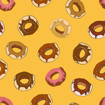 glazed: Seamless background with sweet and colorful donuts