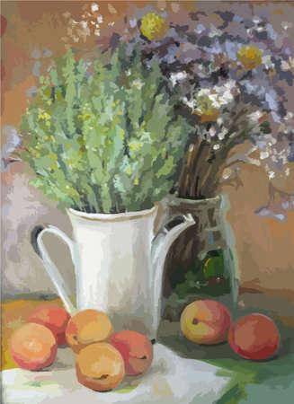 Textur Malerei Ölgemälde auf Leinwand, abstrakte Ölstilleben, Kunst-Impressionismus, gemalt Farbbild der Künstler Malerei Muster Blumen und Früchten Vektorgrafik