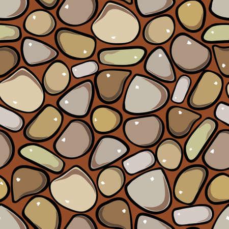 pebble: Seamless Pattern - Pebble cobblestone colorful vector pattern