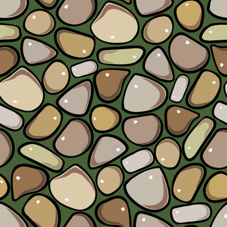 cobblestone: Seamless Pattern - Pebble cobblestone colorful vector pattern