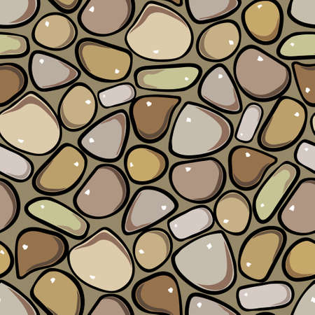 Seamless Pattern - Pebble cobblestone colorful vector pattern