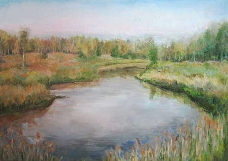canvas art: Picture oil paints on a canvas: spring landscape, Russia. Stock Photo