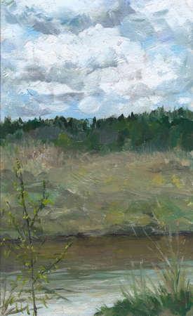 oil paints: Picture oil paints on a canvas: spring landscape, Russia. Stock Photo