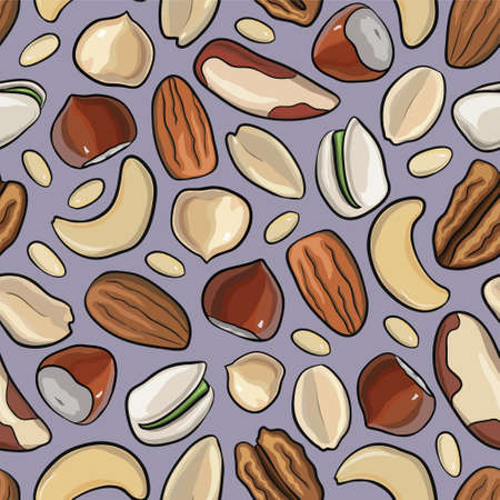 pine nut: Vector seamless pattern with nuts in hand drawn style: hazelnut, almonds, peanuts, walnut, cashew, pine nut, pistachios pecan Illustration