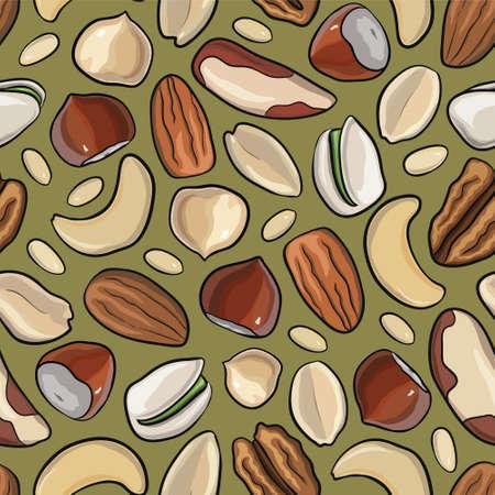 Vector seamless pattern avec des noix dans le style dessiné à la main: noisettes, amandes, cacahuètes, noix, noix de cajou, noix de pin, pistaches pécan