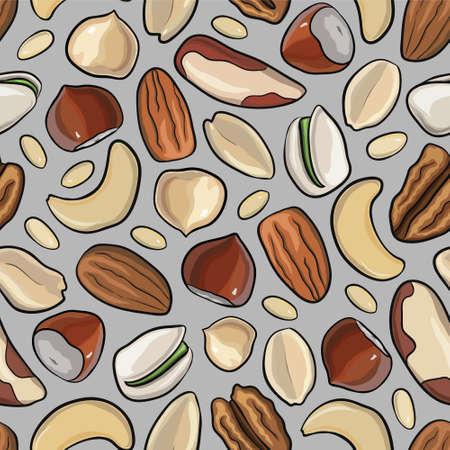pistachios: Vector seamless pattern with nuts in hand drawn style: hazelnut, almonds, peanuts, walnut, cashew, pine nut, pistachios pecan Illustration
