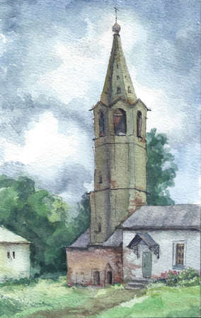 bell tower: Old bell tower in summer, Russia, watercolor Stock Photo