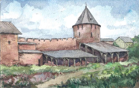 Wall of the monastery in summer, watercolor