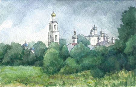 monastery: Russian landscape with a monastery in summer, watercolor