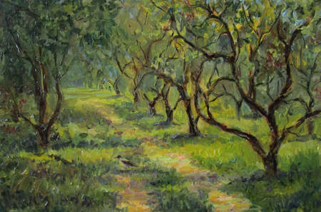 oil park: Apple trees in russian summer park, oil painting