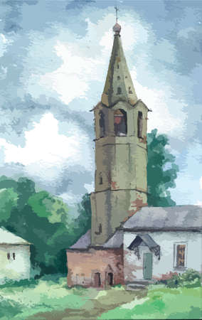 bell tower: Old bell tower in summer, Russia, watercolor Illustration