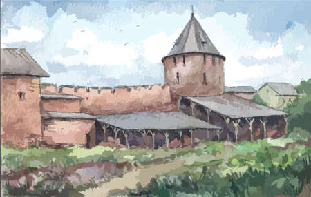 monastery: Wall of the monastery in summer, watercolor