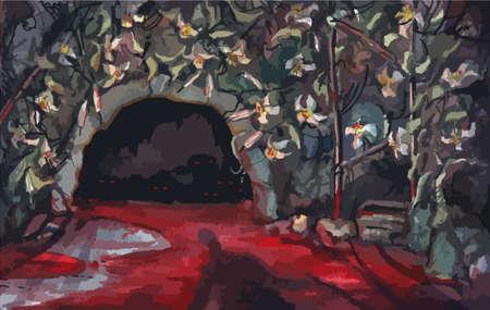pintura de acuarela. efecto de la pintura. El muchacho en una cueva sangrienta con los monstruos. La visita de la vieja tierra. Vector