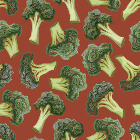 etch: Broccoli hand drawn vector seamless pattern. Vegetable engraved style illustration. Isolated Broccoli background. Detailed vegetarian food drawing. Farm market product.