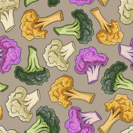 cauliflower: Seamless pattern cauliflower on a colorful background. Illustration
