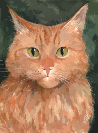 Portrait of the ginger cat. Watercolor background