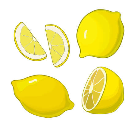 limon: Lemons, four views. Fresh, natural lemons: whole, half, slice wedge Graphic illustrations isolated on white background