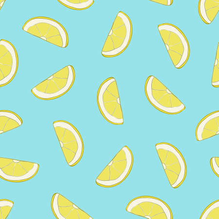 Vector seamless pattern with hand drawn lemon slices. Beautiful design elements, perfect for prints and patterns. 矢量图像