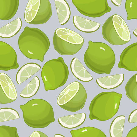 Citrus Background Green Limes Seamless Pattern, vector Illustration