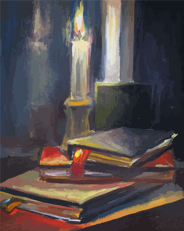 Burning candle and old books, oil painting Иллюстрация