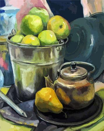 Apples in bucket. Hand drawn oil painting illustration. still life fine art. Vettoriali