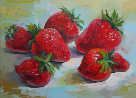 Strawberries, still-life, original oil painting on canvas Vettoriali