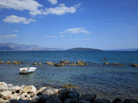 Picturesque scene of boats in a quiet bay of Croatia