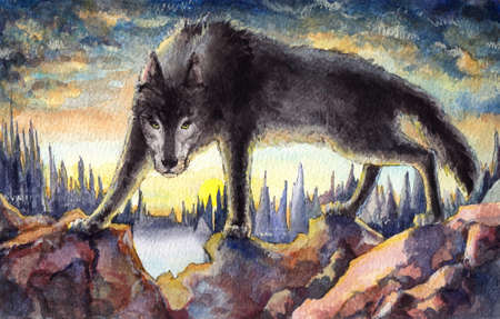Aggressive black wolf watercolor painting under the evening sky