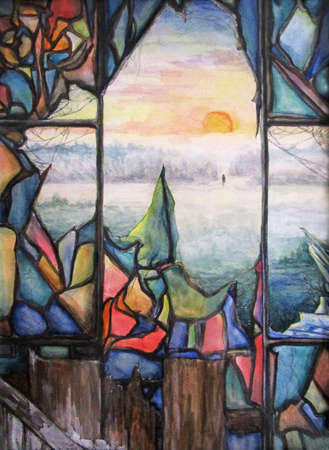 Broken stained glass window. Hand drawn fantasy illustration.  painting