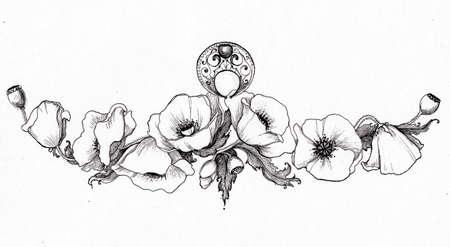 Hand drawn poppies. Black and white tattoo illustration.