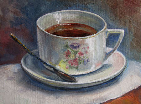 painting texture oil painting still life, a cup of tea, painted color image