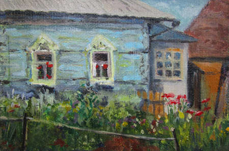 Country house and flowers, summer in Russia, oil painting