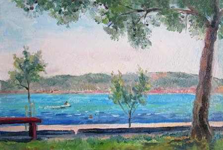 Oil painting illustration of coast, Croatia, Europe