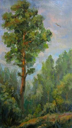 Painting, picture oil paints on a canvas. Landscape, eagle.