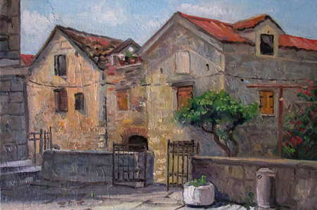 Courtyard of old Croatia - oil painting art