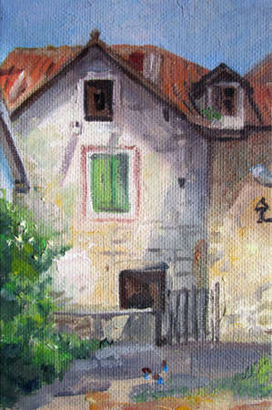 Courtyard of old Croatia - oil painting art, summer, adriatic