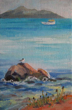 Painting of a sleeping gull, adriatic sea and sky 写真素材