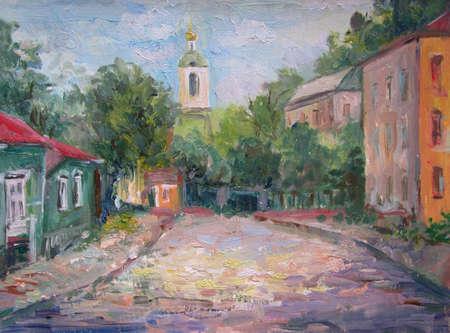 óleo original pleinair sobre lienzo pintura de la antigua arquitectura de Moscú Foto de archivo