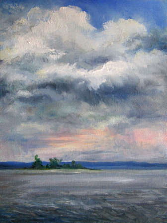 Painting, clouds over the river