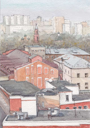 Watercolor architecture painting, urban sketch. Horizontal drawing of Moscow city. House. Hand drawn buildings.