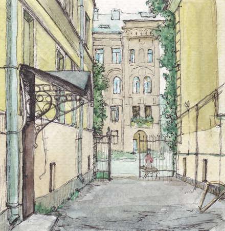 Summer street and yard in Saint-Petersburg, watercolor painting