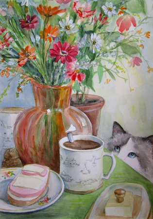 watercolor painting spring illustration with breakfast, flowers and a cat