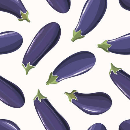 Vegetables seamless background with eggplants and cabbages. Wallpaper for vegan store. Vetores