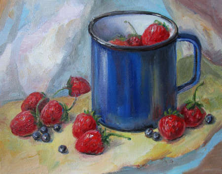 A cup of strawberries, oil painting