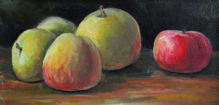 ripe Apples on a dark background, oil painting