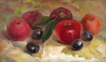 ripe apples and plums in autumn, oil painting