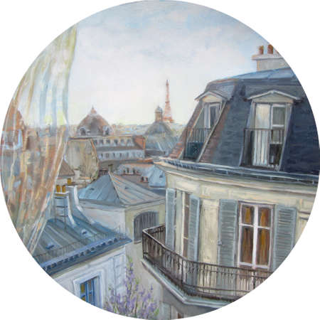 View from the window in Paris, oil painting