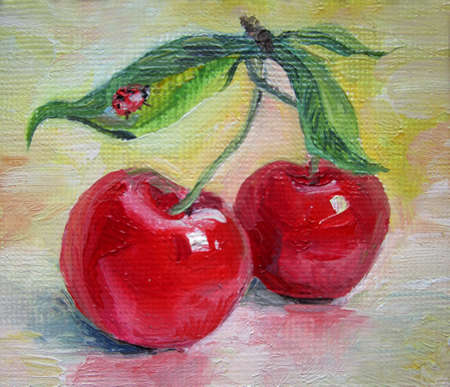 Two ripe cherries on a yellow background, oil painting 版權商用圖片
